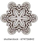 ethnic fractal mandala raster... | Shutterstock . vector #674726842