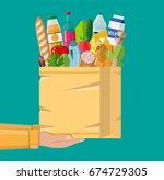 paper shopping bag full of... | Shutterstock . vector #674729305
