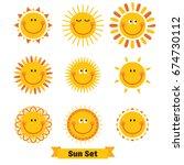 set of sun emoticon...   Shutterstock .eps vector #674730112