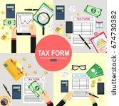 tax calculation  budget... | Shutterstock .eps vector #674730382