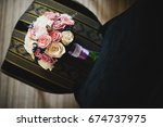 beautiful bouquet of roses... | Shutterstock . vector #674737975