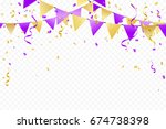 purple gold party flags with... | Shutterstock .eps vector #674738398