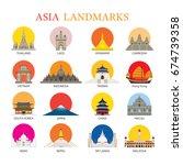 asia landmarks architecture... | Shutterstock .eps vector #674739358