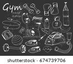 hand drawn doodle sport... | Shutterstock .eps vector #674739706
