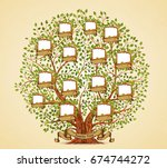 family tree template vintage... | Shutterstock .eps vector #674744272
