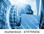 rear view of businesswoman... | Shutterstock . vector #674744656