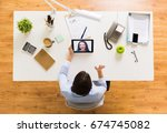 business  people and technology ... | Shutterstock . vector #674745082