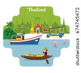 thailand travel and attraction... | Shutterstock .eps vector #674745472