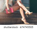 close up of woman with beauty... | Shutterstock . vector #674745505