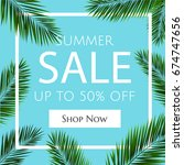 sale banner with palm trees ... | Shutterstock .eps vector #674747656