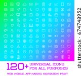 120 universal icons set for all ... | Shutterstock . vector #674748952