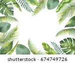 watercolor frame tropical... | Shutterstock . vector #674749726