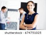attractive office worker...   Shutterstock . vector #674751025