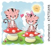 Two Cute Cartoon Tigers Are...