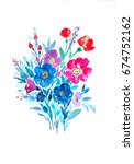 watercolor floral bouquet with... | Shutterstock . vector #674752162