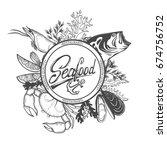 seafood restaurant  menu... | Shutterstock .eps vector #674756752