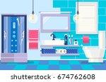 modern bathroom interior with... | Shutterstock .eps vector #674762608