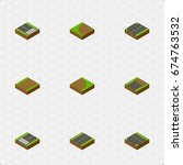 isometric way set of unfinished ... | Shutterstock .eps vector #674763532