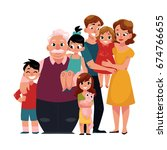 family portrait   parents ... | Shutterstock .eps vector #674766655