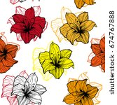 colorful lily flower pattern. | Shutterstock .eps vector #674767888