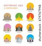 asean  southeast asia landmark... | Shutterstock .eps vector #674767948