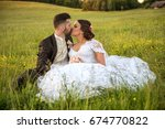 wedding couple on nature. | Shutterstock . vector #674770822