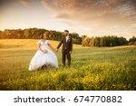 wedding couple on nature. | Shutterstock . vector #674770882