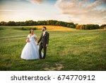 wedding couple on nature. | Shutterstock . vector #674770912