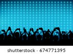 silhouette of people raise hand ... | Shutterstock .eps vector #674771395