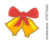 jingle bells with red bow on a... | Shutterstock .eps vector #674773162
