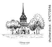 admiralty spire of saint...   Shutterstock .eps vector #674773546