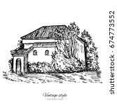 vintage vector sketch tile old... | Shutterstock .eps vector #674773552