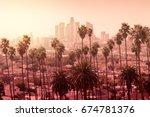 beautiful sunset of los angeles ...   Shutterstock . vector #674781376