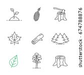 forestry linear icons set. pine ... | Shutterstock .eps vector #674788876