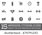set of raster fitness aerobics... | Shutterstock . vector #674791252