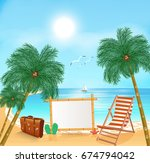 tropical beach with palm tree.... | Shutterstock .eps vector #674794042