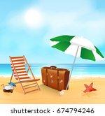 tropical beach. sandy beach... | Shutterstock .eps vector #674794246