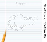 singapore map hand drawn with...   Shutterstock .eps vector #674800546