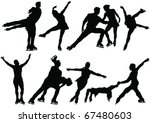 Ice Skate Dance Silhouettes  ...