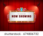 theater sign retro on curtain... | Shutterstock .eps vector #674806732