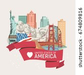 welcome to usa. united states... | Shutterstock .eps vector #674809816