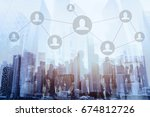 social network or business... | Shutterstock . vector #674812726