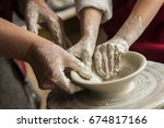 senior potter teaching a little ... | Shutterstock . vector #674817166