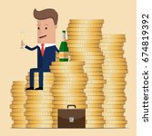 successful businessman sitting... | Shutterstock .eps vector #674819392