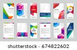 set of visual identity with... | Shutterstock . vector #674822602
