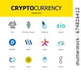 criptocurrency blockchain icons.... | Shutterstock .eps vector #674826412