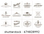 set of raster barber shop...   Shutterstock . vector #674828992