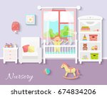 baby room interior. nursery...   Shutterstock .eps vector #674834206