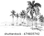 copacabana beach. rio de... | Shutterstock .eps vector #674835742