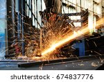 metal works. electric wheel... | Shutterstock . vector #674837776